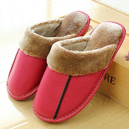 mhgao Ladies Casual zapatillas para interiores suelo antideslizante en otoño y el invierno cálido lana Zapatillas Rosa roja