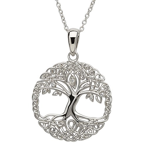 CLADDAGH RING STORE Sterling Silver Tree of Life Pendant with Chain SP2102CZ