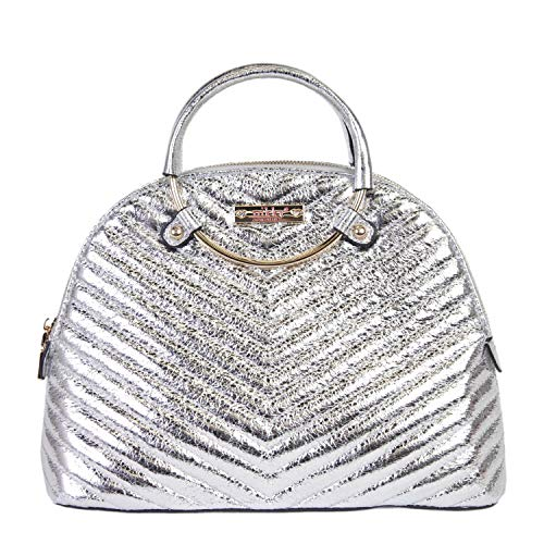 Nikky Women's Metallic Quilted Silver Satchel Bag with Dual Compartment and Shoulder Strap, One Size