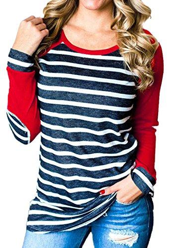 Fr Lunga Camicie Rosso Camicetta Manica a Maglie Casual Shirts Sottile Righe Moda Girocollo T ulein Fox a Estivo Tops Bluse Donna vvZnr