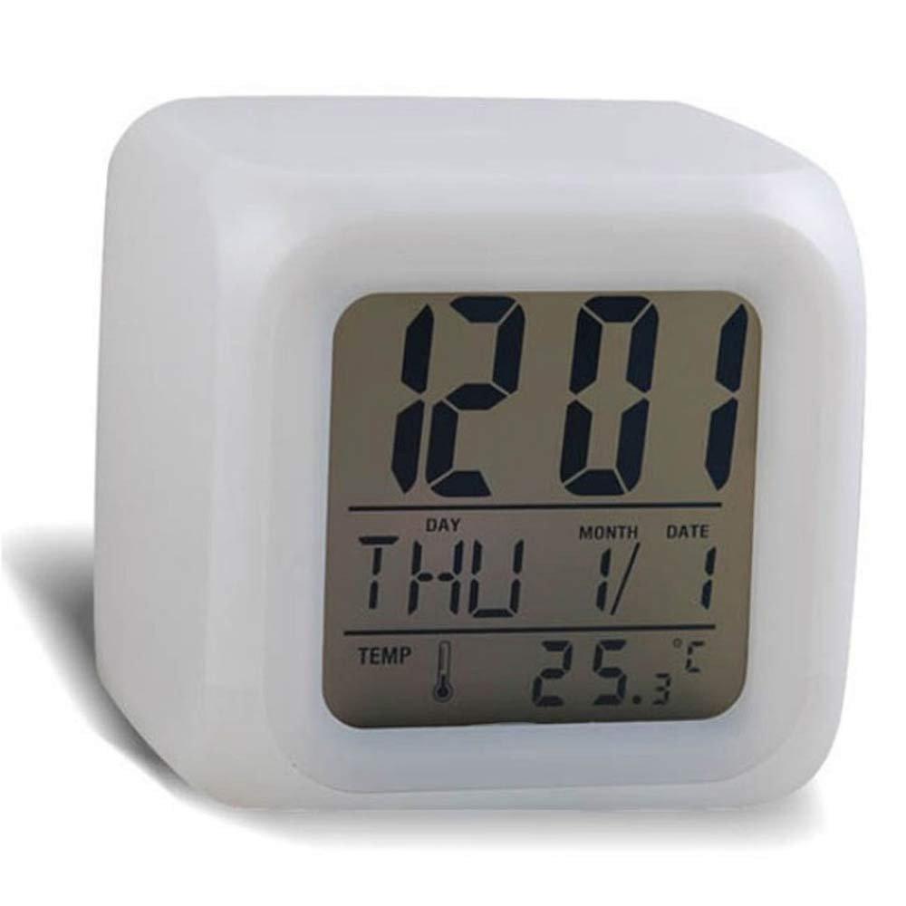 Winkey Digital Alarm Thermometer Night Glowing Cube 7 Colors LED Change Clock (White)