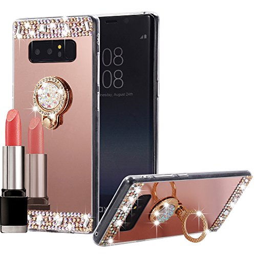 Galaxy Note 8 Case Mirror, Miniko(TM) 3D Luxury Bling Glitter Diamond Crystal Ring Holder Stand Kickstand Mirror Phone Case Cover for Samsung Galaxy Note 8 Rose Gold Pink