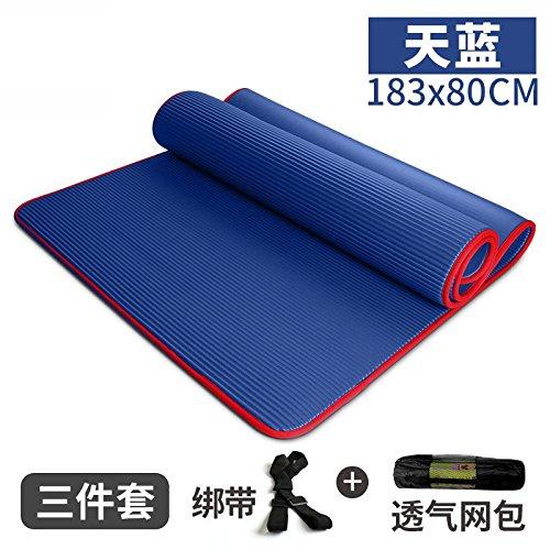 bleu  YOOMAT élargisseHommest Insipide Tapis Yoga débutants' Fitness Masculins et féminins et Pad Mini Long Tapis de Yoga Dance Blanket