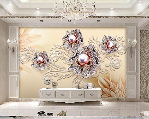 LHDLily 3D Wallpaper Mural Fresco Sticker Custom Wallpaper Living Room Bedroom Mural European Style Real Estate Diamond Jewelry Tv Sofa Background 3D Wallpaper 400cmX300cm