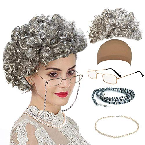 qnprt Old Lady/Mrs. Santa Wig, Madea Granny Glasses, Eyeglass Chains Holder and Cords Strap,FauxPearl Beads Choker -