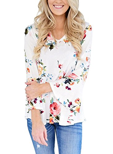 Womens Stylish Floral Print 3/4 Sleeve V Neck Blouse Shirt Tops ((US 8-10)M, White)