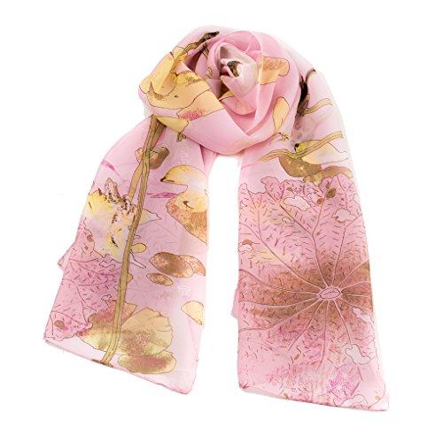 SCF256-Womens Fashion Chiffon Scarf with Autumn Bird Print in Pink ()