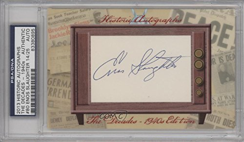 (Enos Slaughter PSA/DNA Certified Auto AUTHENTICATED AUTHENTIC #14/25 St. Louis Cardinals (Baseball Card) 2013 Historic Autographs The Decades - 1940s Edition Framed Cut Autographs #80 )