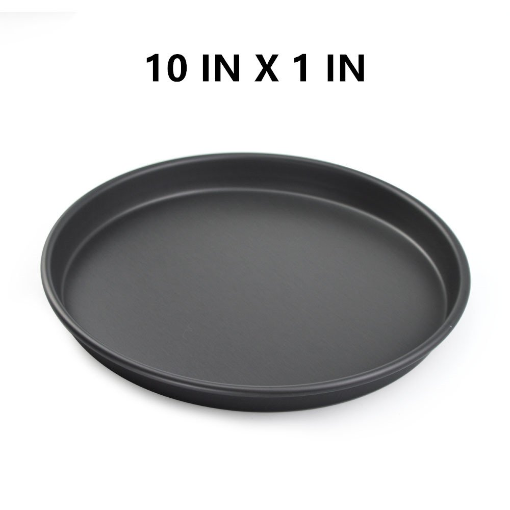 10'' Pizza Pan, Deep Dish Non-Stick Hard Coating Microwave Crispers Commercial Grade Kitchen Baking Tray, Round Cake Baking Pans