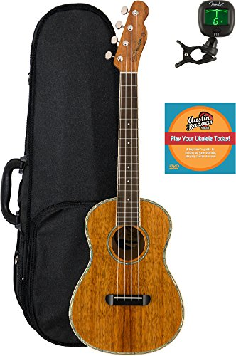 Fender Montecito Tenor Ukulele Bundle with Hard Case, Tuner, and Austin Bazaar Instructional DVD by Fender
