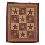 VHC Brands Ninepatch Star 4'2'' x 5' Quilted Throw Blanket in Tan