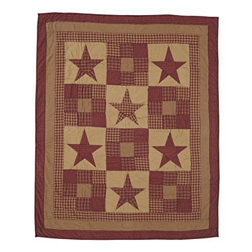 VHC Brands Ninepatch Star 4'2'' x 5' Quilted Throw Blanket in Tan by VHC Brands