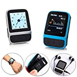 Sport Mini Clip MP3 Music Player with Smart Bracelet Watch Wrist Band Pedometer Wearable FM Radio-Blue