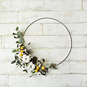 Orchid & Ivy 18 Inch Modern Hoop Floral Wreath with Cotton Balls and Greenery - Wall Hanging Spring Decoration Wedding Decor 50
