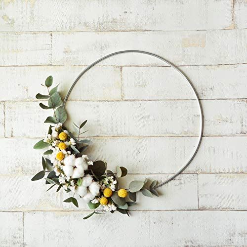 Orchid & Ivy 18 Inch Modern Hoop Floral Wreath with Cotton Balls and Greenery - Wall Hanging Spring Decoration Wedding -