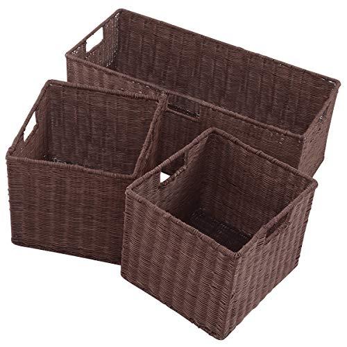 Giantex 3PCS Rattan Storage Baskets Nest Nesting Cube Bin Box Organizer Home Room Office(1 x Large+ 2 x Small Wicker Rattan Covered)