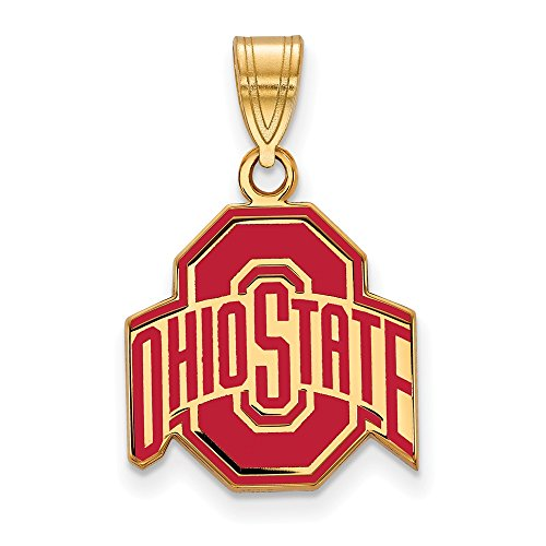 Roy Rose Jewelry Sterling Silver with 14K Yellow Gold-plated LogoArt Ohio State University Medium Enameled Pendant ()