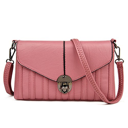 FZHLY Nuova Spalla Della Signora Buckle Boutique Diagonale Pacchetto Ha Coperto Il Sacchetto,Pink