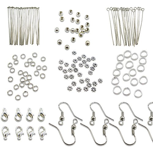 TOAOB Silver Jewelery Making Starter Kits findings Lobster Clasp Jump Rings Earring Hook Spacer Beads