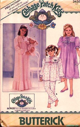 Butterick 3436 Cabbage Patch Kids Nightgown, Pajamas, Doll Outfit Included, Vintage 1980s Sewing (The 80s Outfits)