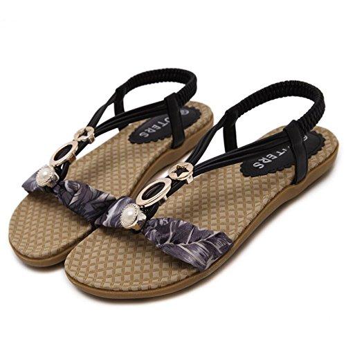 Sandalias planas floral femenino - Las mujeres embarazadas Anti Skid cómodas zapatillas de playa Negro
