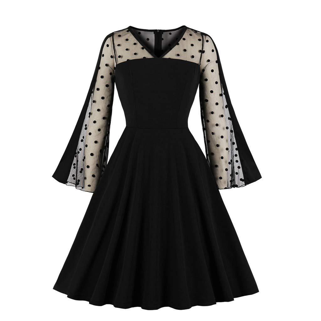 LUKALUKADA Fashion Women Flare Long Sleeve Solid V-Neck Dress Women Vintage Mesh Pespective A-Line Dress Black by LUKALUKADA