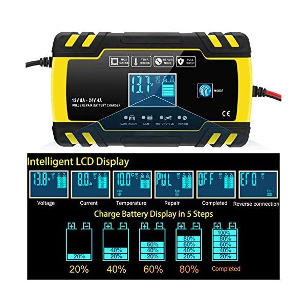 51mmXkQBYRL Yomao Ladegerät Autobatterie 8A 12V/24V KFZ Batterieladegerät Vollautomatisches Intelligentes Erhaltungsladegerät mit…