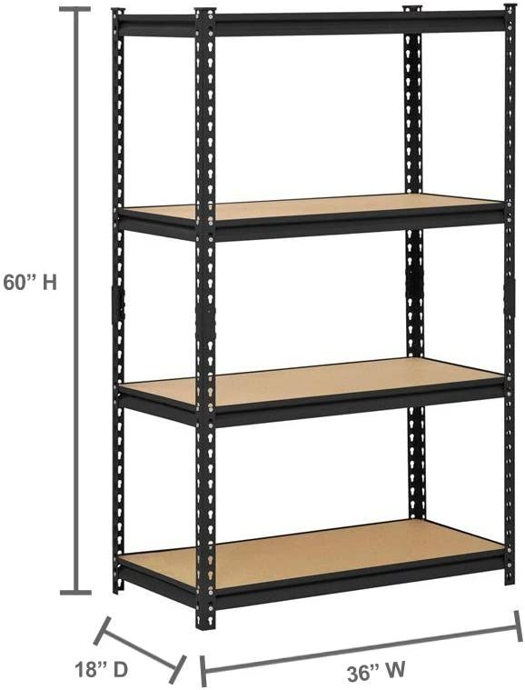 Amazon Com Edsal 36 W X 18 D X 60 H Four Shelf Steel Shelving Black Home Improvement