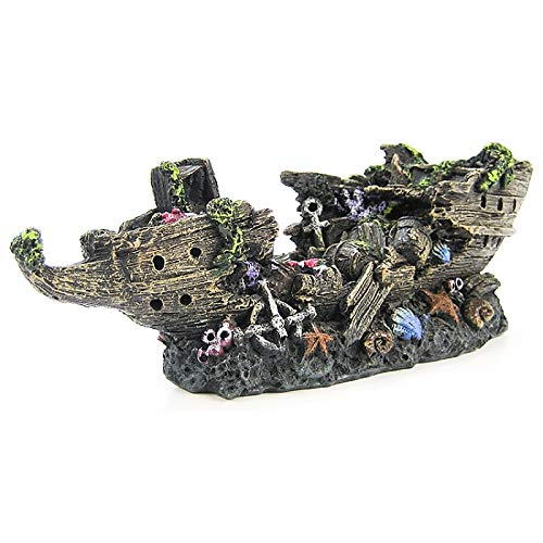 Penn-Plax Aquarium Decorative Treasure Shipwreck Bow Resin Ornament Large 7