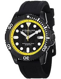 Stuhrling Original Men's 328R.335665 Aquadiver Regatta Atlantis Sport Swiss Quartz Divers Date Black Rubber Strap Watch
