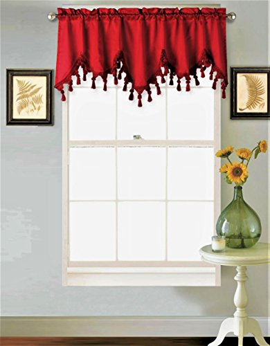 GorgeousHomeLinen (WAVE) 1 Elegant Faux Silk Rod Pocket Swag Waterfall Ascot Dressing Valance with Tassels, 55