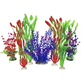 SLOME Aquarium Plastic Plants Decorations - Artificial Aquatic Plants for Large Artificial Aquarium Decor and Accessories - 7Pack Blue