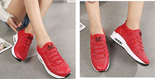 Sports Breathable Lace Red Sneaker Casual Walking Women's Lightweight up BeautyOriginal Shoes Running 8qB5xt
