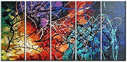 FLY SPRAY Colorful Lines Oil Paintings On Canvas Wall Art 5 Panels Contemporary Art Stretched Framed 100 Hand Painted Modern Artwork Abstract Painting Living Room Bedroom Office Home Decor