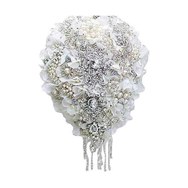 IFFO White Hydrangea Drop Brooch Bouquet Silver Wedding Bouquets Crystal Teardrop Bridal Bouquet Pearl Tassels Decor