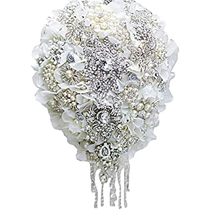 Amazon Iffo White Hydrangea Drop Brooch Bouquet Silver Wedding