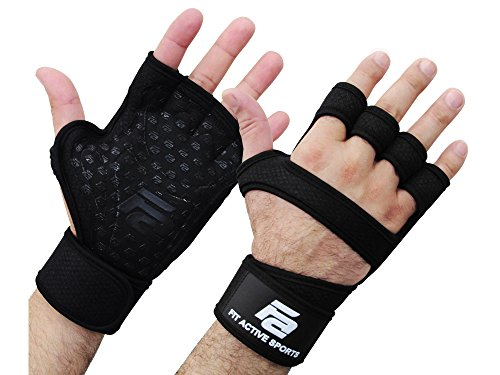 Fit Active Sports RX1 Weight Lifting Gloves for Workout, Gym Cross Training - Pull Ups, Kettlebells, Deadlifts, Weightlifting - Men & Women - More Grip, More Reps (Black, Medium)