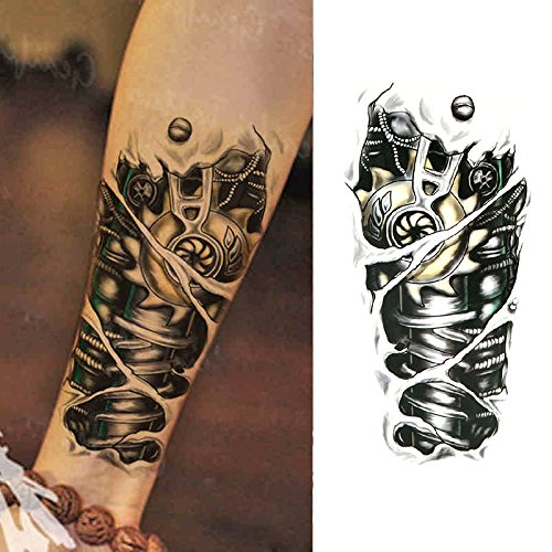 Oottati Old School Mechanical Black Temporary Tattoo (2 Sheets)