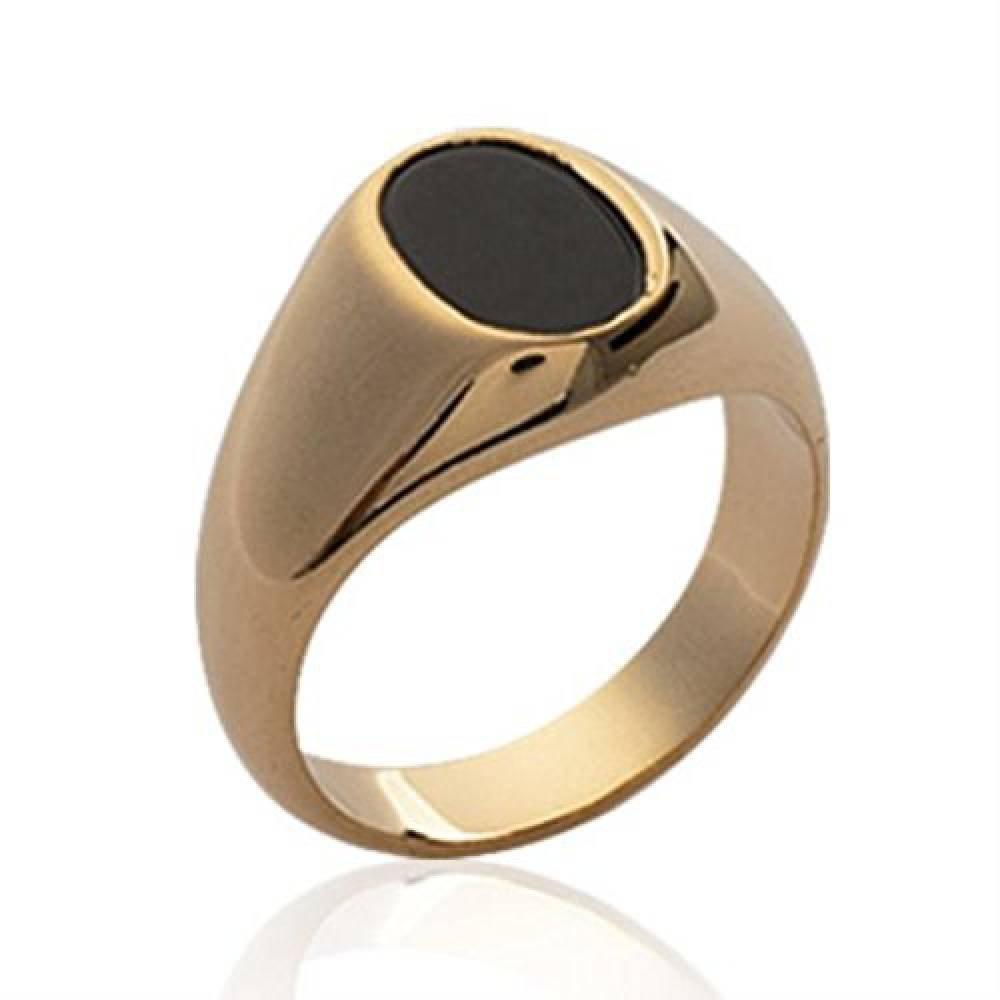 ISADY - Marlon Gold - Bague Mixte Homme Femme - Chevalière - Plaqué Or 750/000 (18 carats) - Onyx noir