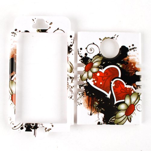 Cell Armor Rocker Snap-On Case for iPhone 5 - Retail Packaging - Wild Twin Hearts and Flowers