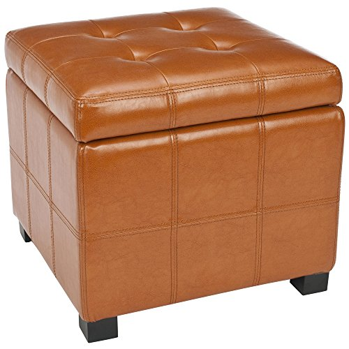 Svitlife Broadway Saddle Leather Tufted Storage Ottoman Lift Foot Rest W Elegant Gray Faux Square Brown