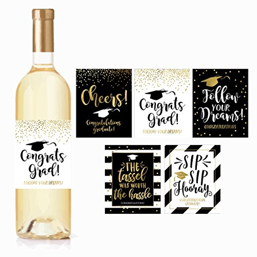 5 Graduation Gift Wine Labels or Stickers For Men or Women, Cute Unique Party Decoration Supplies Ideas, Best Present For Adult College, University, Masters, PHD, Nurse RN Navy Army Doctorate Graduate (Best College Graduation Party Ideas)