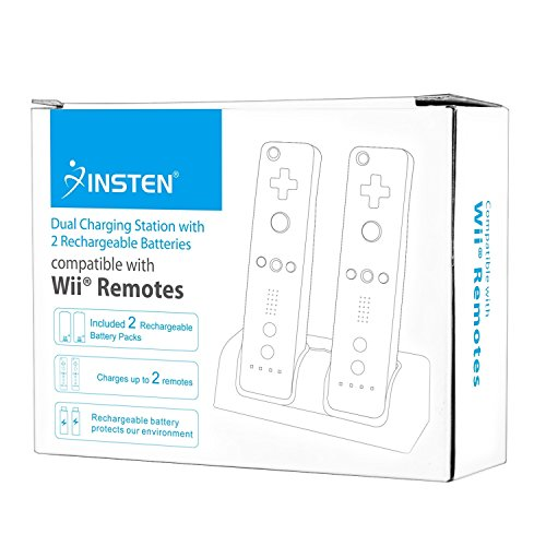 Insten Dual Charging Station w/ 2 Rechargeable Batteries & LED Light for Wii / Wii U Remote Control, White - (Original Wii Controllers Not Included) Retail Packaging
