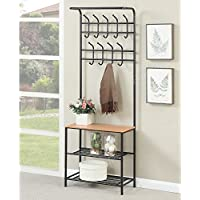 Metal Coat Rack Hanger Hat Bag Stand Entryway Hall Tree Storage Bench Organizer
