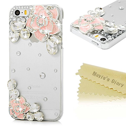 iPhone SE Case,iPhone 5S/5 Case - Mavis's Diary 3D Handmade Bling Diamonds Glitter Crystal Sparkle Gems Lovely Pink Camellia Flowers Design Clear Case Hard PC Cover for iPhone SE/5S/5