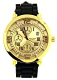 Gold/Black Tone Roman Flat Hip Hop Men's Techno King Wrist Watch and Free Earrings