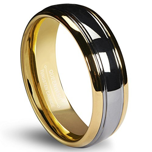 Queenwish 6mm Tungsten Carbide Wedding Band Gold Silver Dome Promise Rings for Couples Size 9 14k Gold Diamond Name Ring