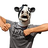 CreepyParty Novelty Halloween Costume Party Latex Cow Head Mask (Cow)