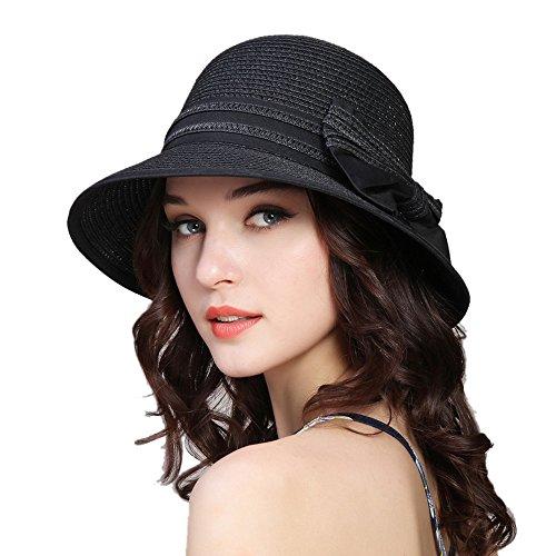 kekolin Fashion Classic Womens Foldable Sun Beach Straw Hats (Black Straw Hat)