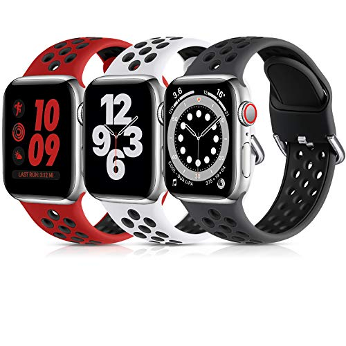 Lerobo 3 Pack Bands Compatible for Apple Watch Bands 38mm 40mm 44mm 42mm, Soft Silicone Sport Strap Breathable Replacement Band for Apple Watch SE iWatch Series 6, Series 3,Series 5 4 3 2 1 Women Men